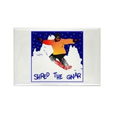 Shred the gnar snow boarding Rectangle Magnet