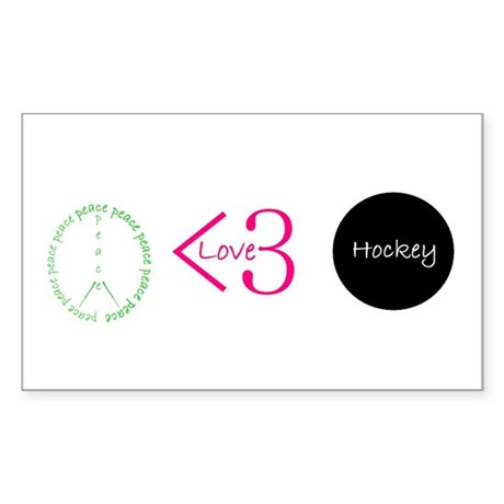 Peace Love Hockey Rectangle Sticker