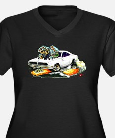 Dodge Charger White Car Women's Plus Size V-Neck D