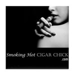 Smoking Hot Cigar Chick Tile Coaster