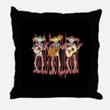 Mariachi Skeleton Trio Throw Pillow