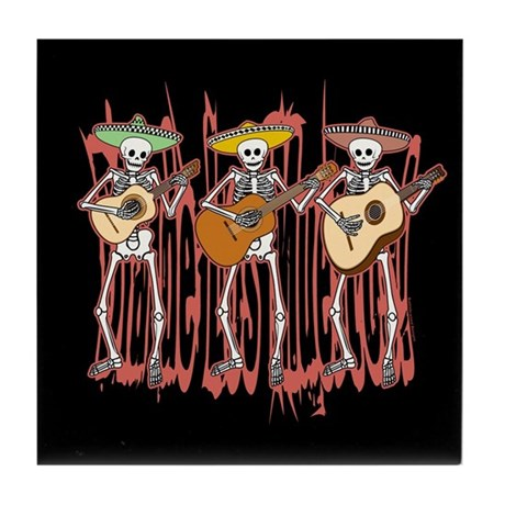 Mariachi Skeleton Trio Tile Coaster
