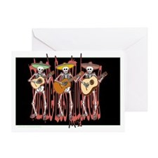 Mariachi Skeleton Trio Greeting Card
