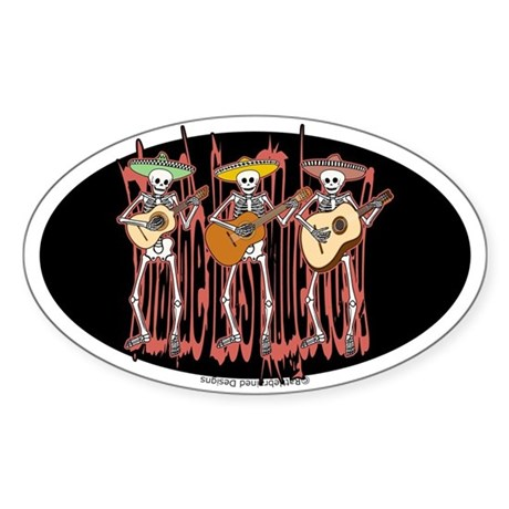 Mariachi Skeleton Trio Oval Sticker