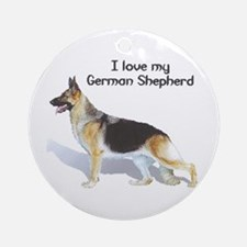 """I Love My German Shepherd"" Ornament (Round)"