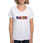 NAIOU Women's V-Neck T-Shirt