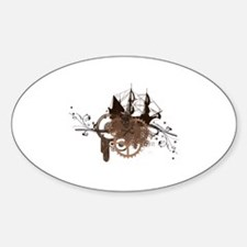 steampunk pirate ship Oval Decal
