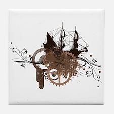 steampunk pirate ship Tile Coaster
