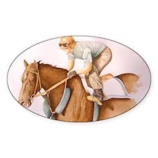 Race Horse and Jockey Oval Decal