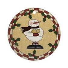 Cute Xmas snowman Ornament (Round)