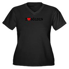 I love Sölden Women's Plus Size V-Neck Dark T-Shir