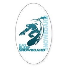Eat Sleep Snowboard Oval Decal