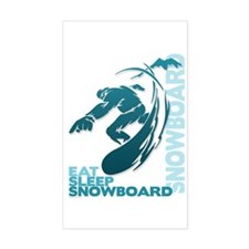 Eat Sleep Snowboard Rectangle Decal