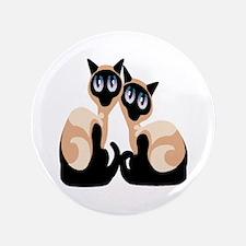 """Twin Siamese Cat 3.5"""" Button"""