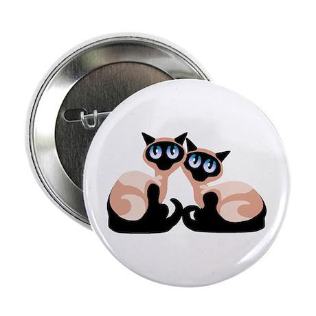 """Cute 2 Siamese cats cartoon 2.25"""" Button"""
