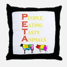 Cute Eat meat Throw Pillow