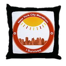 New York City Marathon - I Survived Throw Pillow