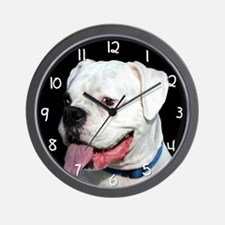 White Boxer Dog Wall Clock