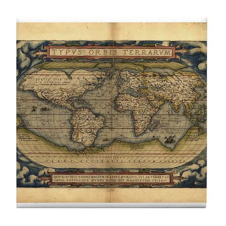 1570 World Map Tile Coaster