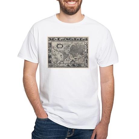 1606 World Map White T-Shirt