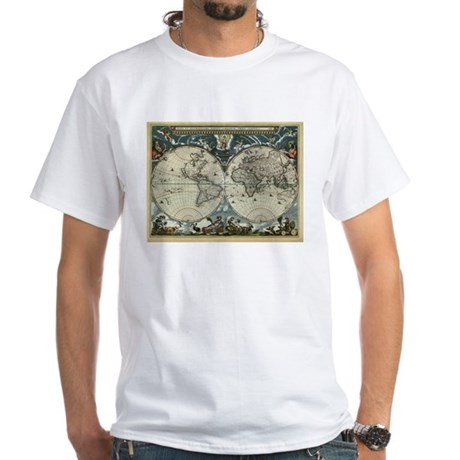 1664 World Map White T-Shirt