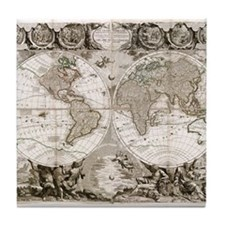 1708 World Map Tile Coaster