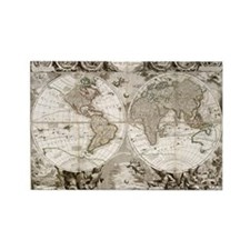 1708 World Map Rectangle Magnet