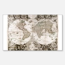 1708 World Map Rectangle Decal