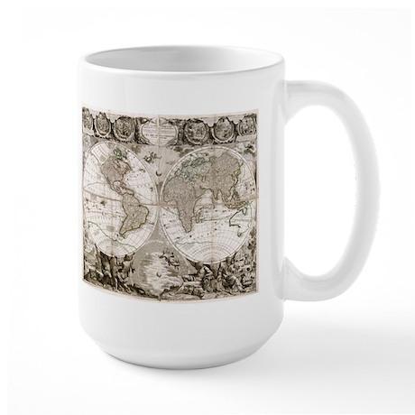 1708 World Map Large Mug