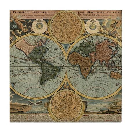 1716 World Map Tile Coaster