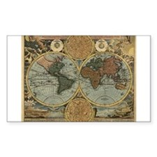 1716 World Map Rectangle Decal