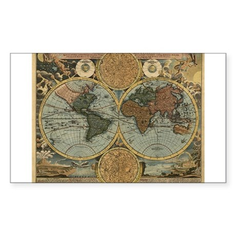1716 World Map Rectangle Sticker