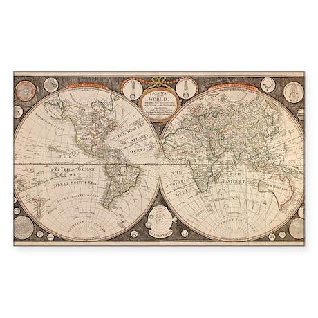 1799 World Map Rectangle Sticker