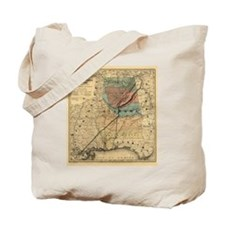 1867 AL TN Rail Map Tote Bag