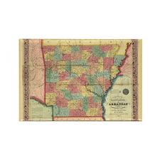 1854 Arkansas Map Rectangle Magnet