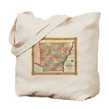 1854 Arkansas Map Tote Bag