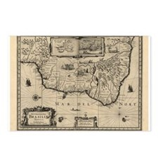 1630 Brazil Map Postcards (Package of 8)