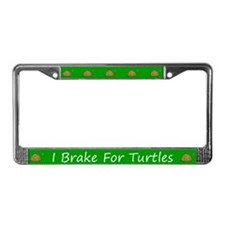 Green I Brake For Turtles License Plate Frames