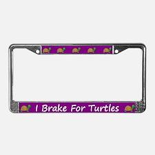Purple I Brake For Turtles License Plate Frames