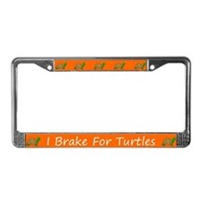 Orange I Brake For Turtles License Plate Frames