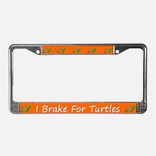 Orange I Brake For Turtles License Plate Frames