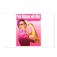 Rosie the Riveter Pink Ribbon Postcards (Package o