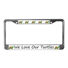 White We Love Our Turtles License Plate Frames