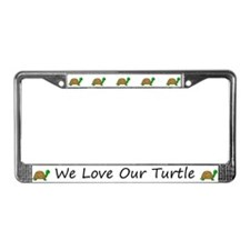 White We Love Our Turtle License Plate Frames