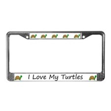 White I Love My Turtles License Plate Frames