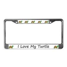 White I Love My Turtle License Plate Frames