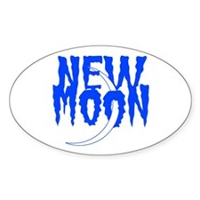 New Moon Blue Oval Decal