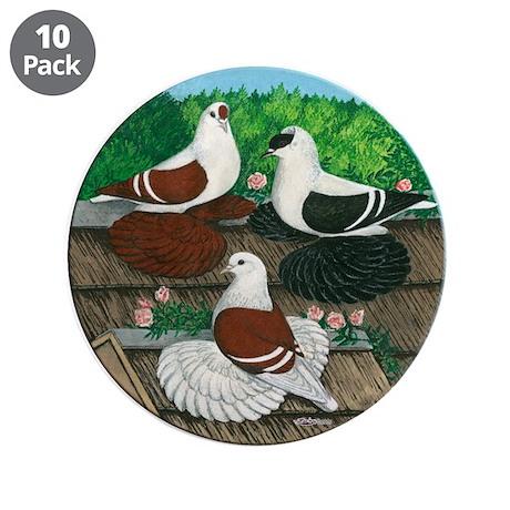 "Saxon Pigeon Trio 3.5"" Button (10 pack)"