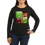 Pop Art Spider Web Women's Long Sleeve Dark T-Shir