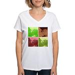 Pop Art Spider Web Women's V-Neck T-Shirt